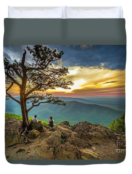 Sunset View At Ravens Roost Duvet Cover