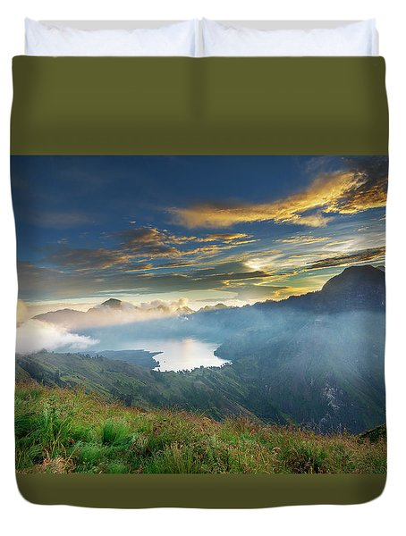 Duvet Cover featuring the photograph Sunset View From Mt Rinjani Crater by Pradeep Raja Prints