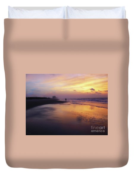 Sunset Walk On Myrtle Beach Duvet Cover