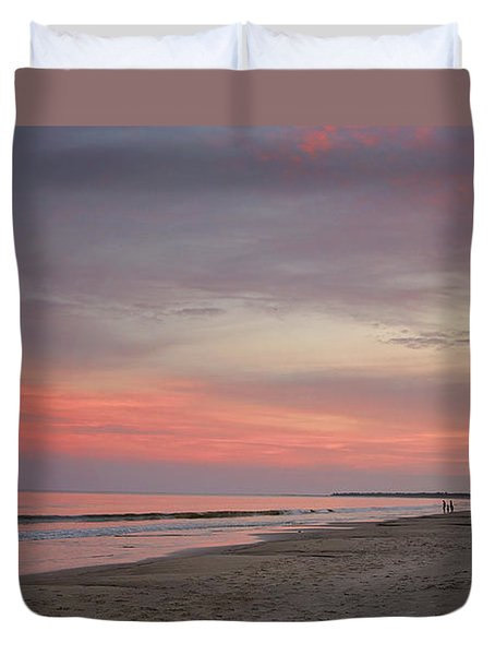 Duvet Cover featuring the photograph Sunset Walk by Sally Simon