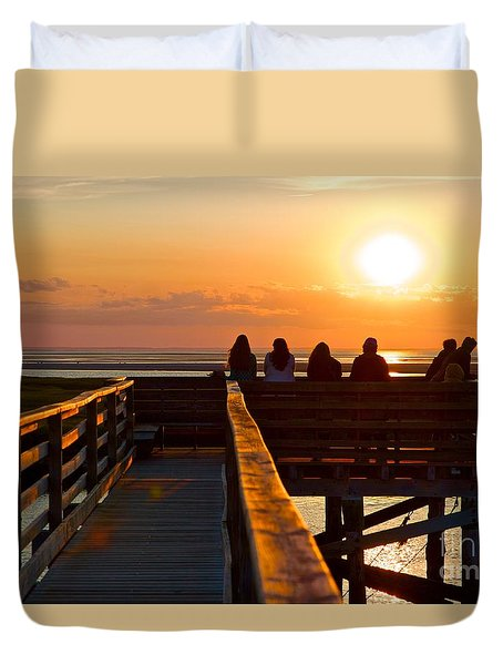 Sunset Watching At Grays Beach Boardwalk Duvet Cover by Amazing Jules