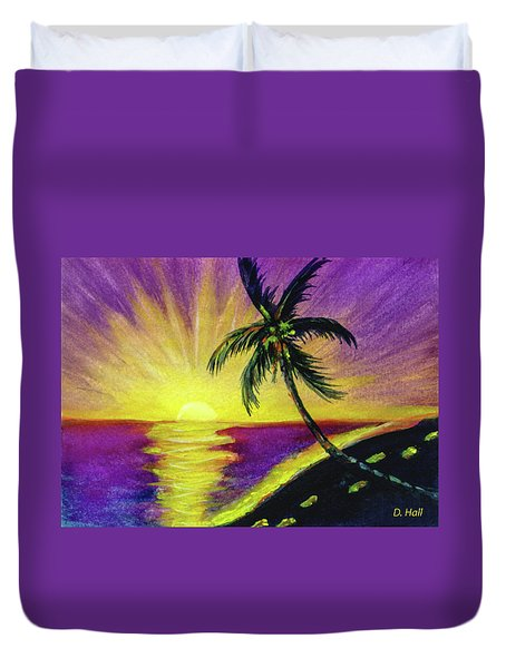 Sunset Water Color Footprints #26 Duvet Cover by Donald k Hall