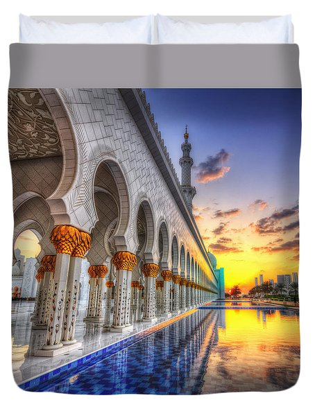 Sunset Water Path Temple Duvet Cover