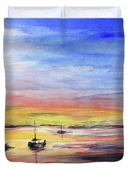 Sunset Watercolor Downtown Kirkland Duvet Cover