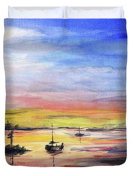 Sunset Watercolor Downtown Kirkland Duvet Cover by Olga Shvartsur