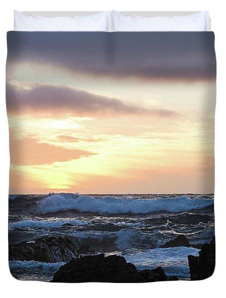 Sunset Waves, Asilomar Beach, Pacific Grove, California #30431 Duvet Cover