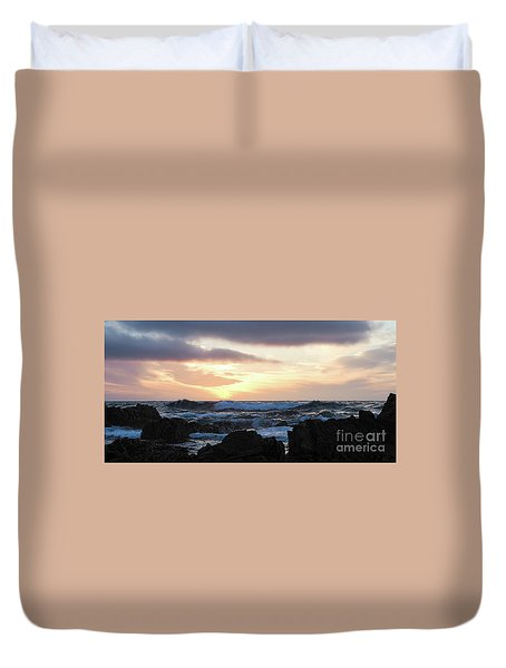 Sunset Waves, Asilomar Beach, Pacific Grove, California #30431 Duvet Cover