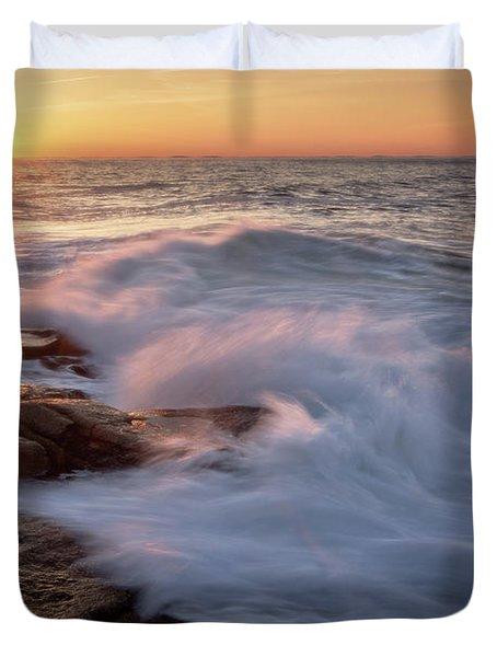 Sunset Waves Rockport Ma. Duvet Cover