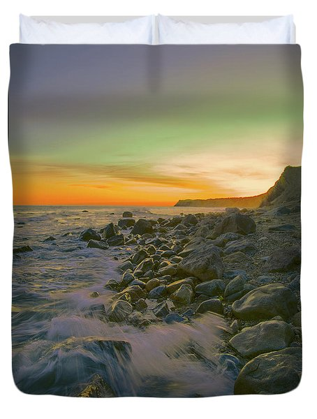 Sunset Waves Duvet Cover by Todd Breitling