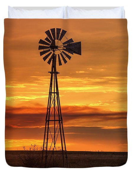 Sunset Windmill 01 Duvet Cover