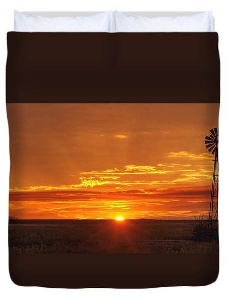 Sunset Windmill 02 Duvet Cover