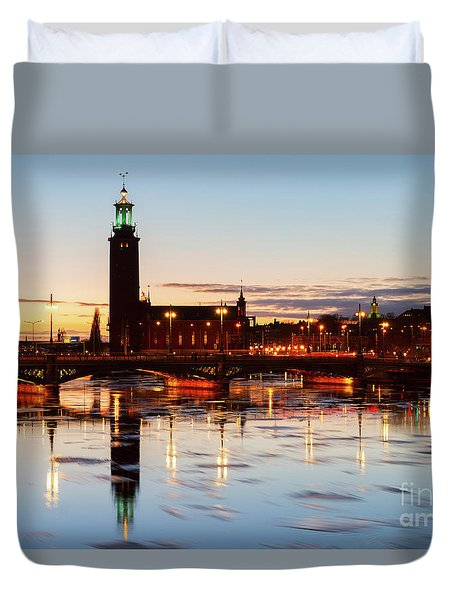 Sunset With Cityhall Of Stockholm Duvet Cover by Anastasy Yarmolovich