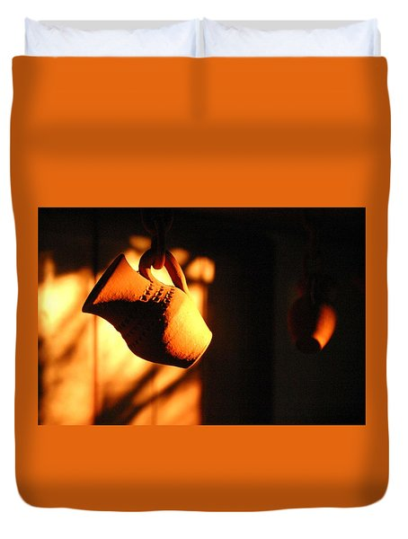 Sunset With Clay Jug Duvet Cover