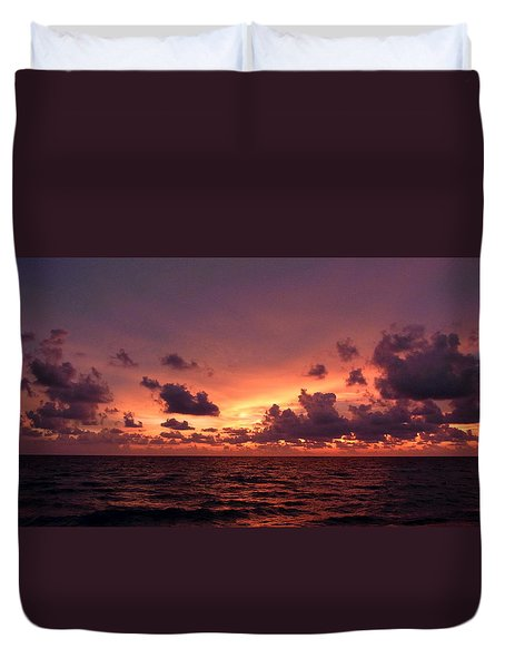 Sunset With Deep Purple Clouds Duvet Cover