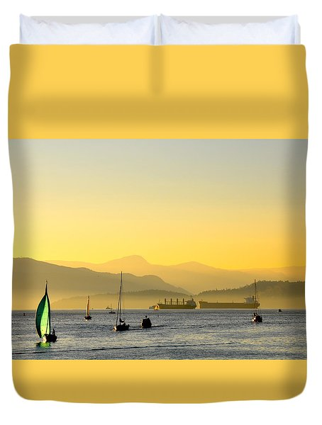 Sunset With Green Sailboat Duvet Cover