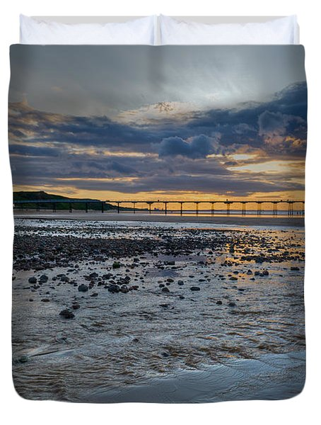 Sunset With Saltburn Pier Duvet Cover