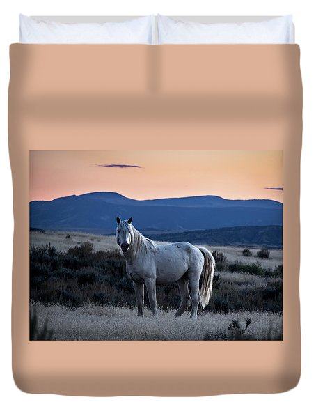 Sunset With Wild Stallion Tripod In Sand Wash Basin Duvet Cover