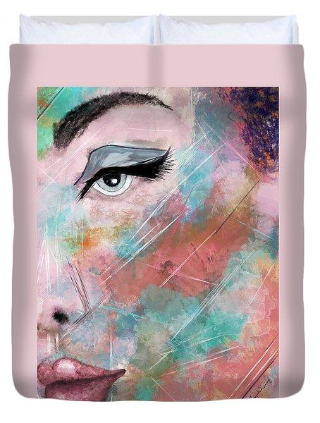 Sunset - Woman Abstract Art Duvet Cover