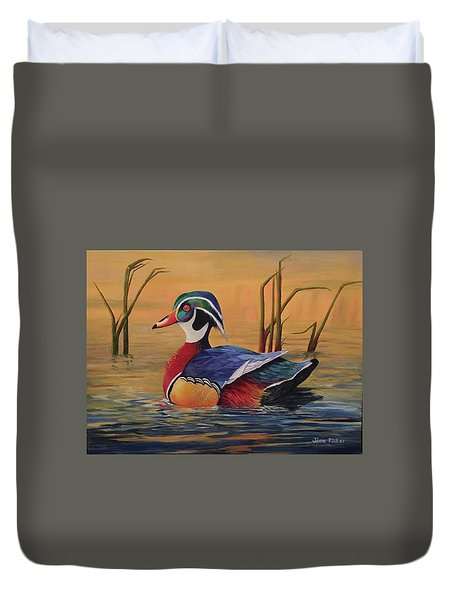 Sunset Wood Duck Duvet Cover