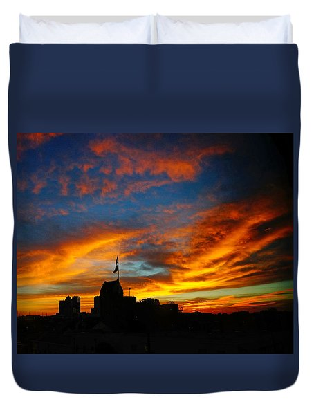 Sunset Ybor City Tampa Florida Duvet Cover