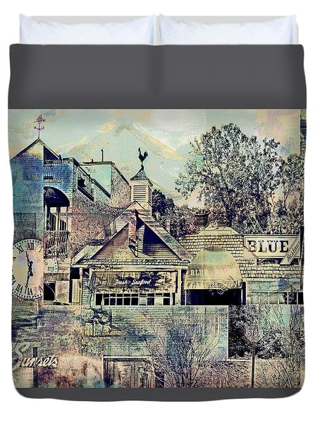 Duvet Cover featuring the digital art Sunsets And Blue Point Collage by Susan Stone