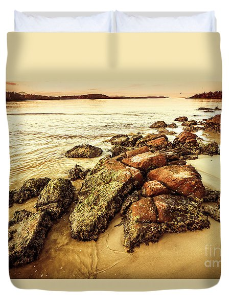 Sunsets And Sea Stones Duvet Cover