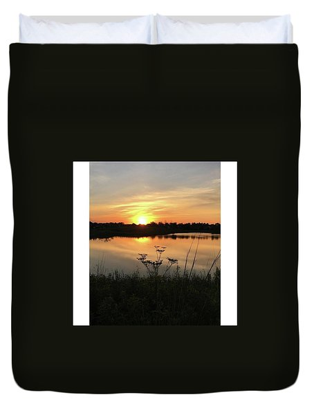 Amber Sunset By The Lake Duvet Cover