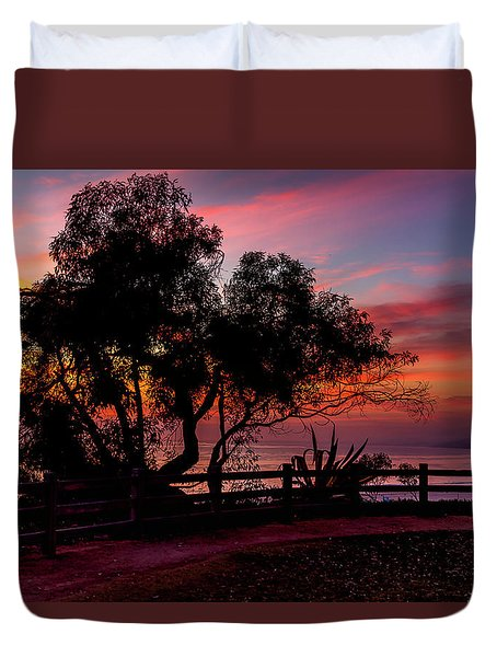 Sunset Silhouettes From Palisades Park Duvet Cover