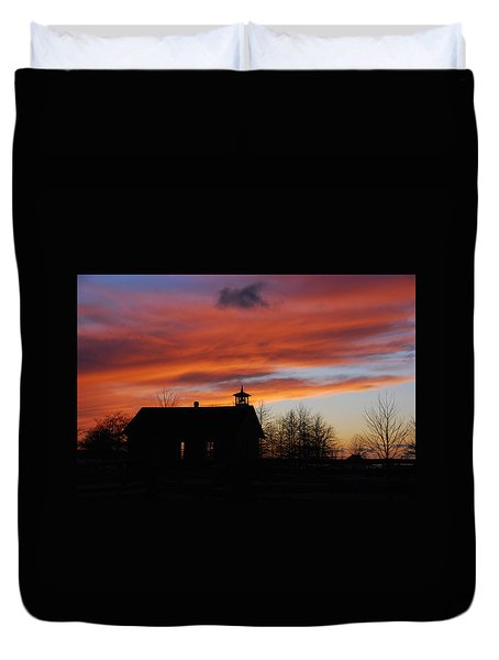 Sunsetting Behind The Historic Schoolhouse. Duvet Cover