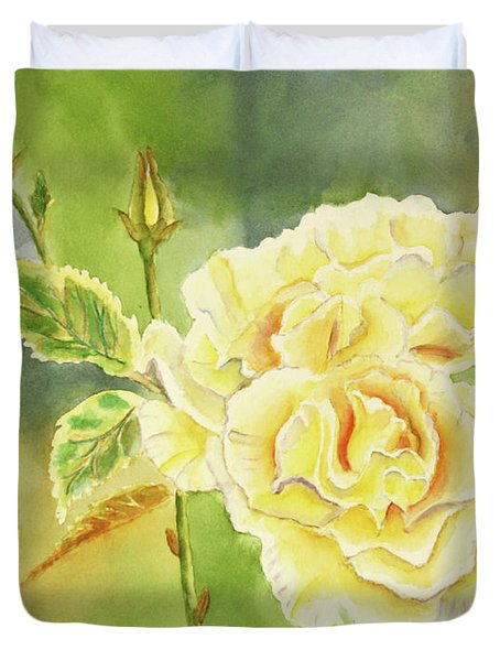 Sunshine And Yellow Roses Duvet Cover by Kathryn Duncan