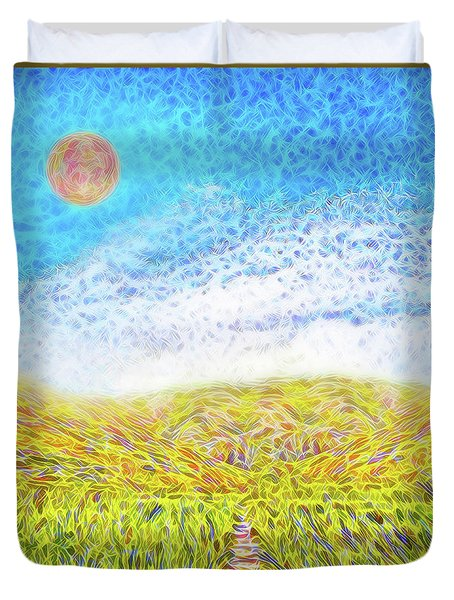 Duvet Cover featuring the digital art Sunshine Path - Field In Marin California by Joel Bruce Wallach
