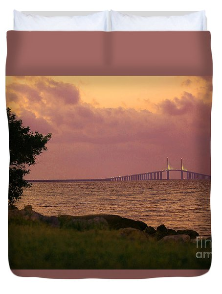 Duvet Cover featuring the photograph Sunshine Skyway Bridge by Terri Mills