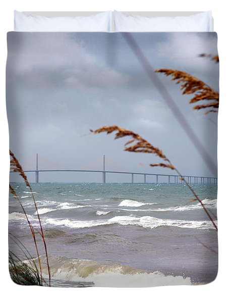 Sunshine Skyway Bridge Viewed From Fort De Soto Park Duvet Cover
