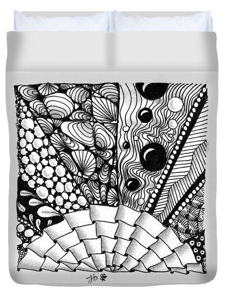 Duvet Cover featuring the drawing Sunsplosion by Jan Steinle