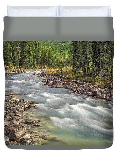 Duvet Cover featuring the photograph Sunwapta River 2005 01 by Jim Dollar