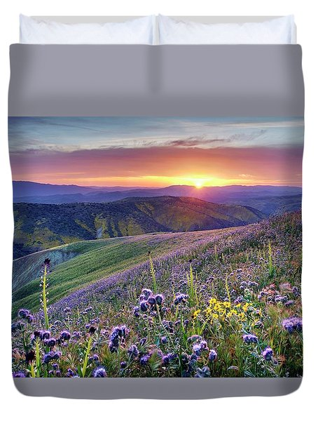 Duvet Cover featuring the photograph Super Bloom In California Desert by Peter Thoeny