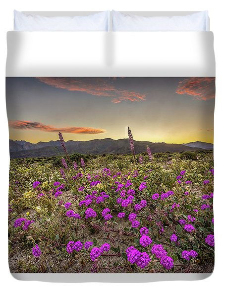 Super Bloom Sunset Duvet Cover by Peter Tellone