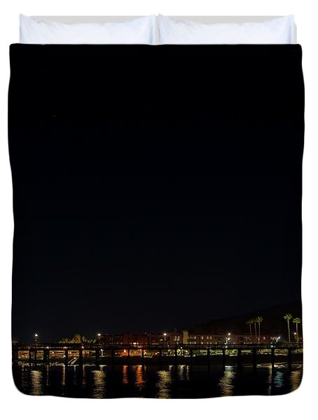 Super Blue Blood Moon Over Ventura, California Pier  Duvet Cover