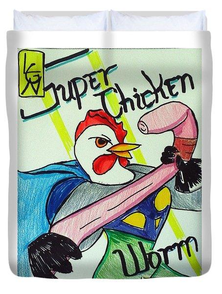 Super Chicken Vs Worm Duvet Cover