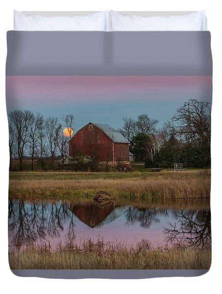 Super Moon And Barn Series #1 Duvet Cover