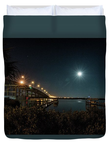 Super Moon And Bridge Lights Duvet Cover