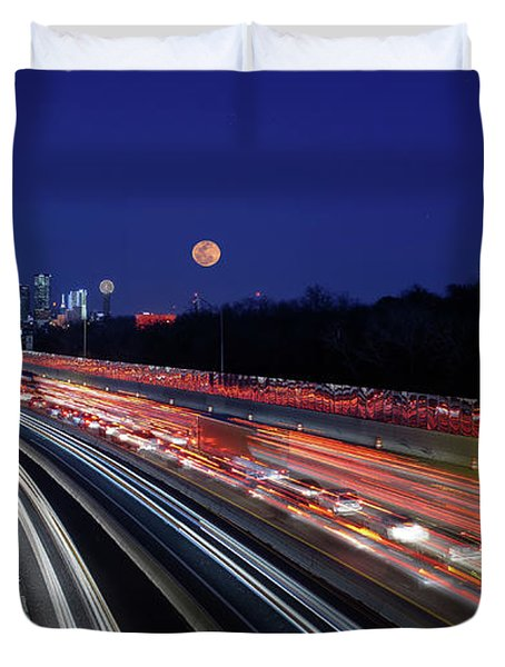 Super Moon And Dallas Texas Skyline Duvet Cover