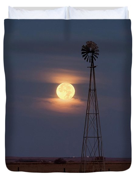 Super Moon And Windmill Duvet Cover
