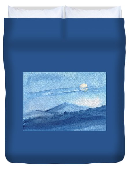 Duvet Cover featuring the painting Super Moon by Asha Sudhaker Shenoy