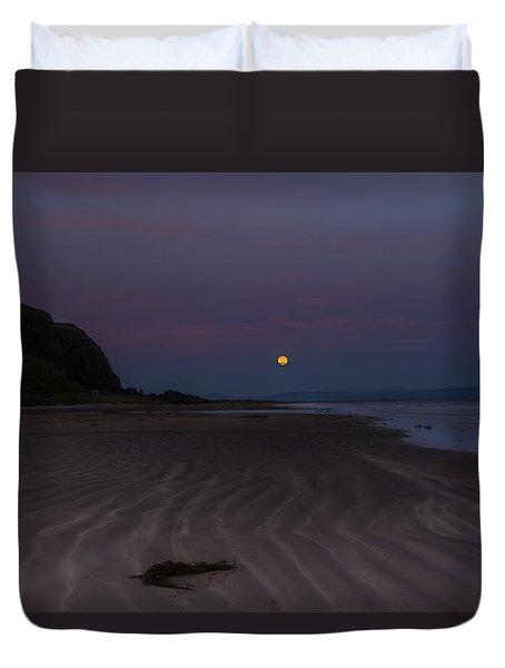 Super Moon At Downhill Beach Duvet Cover