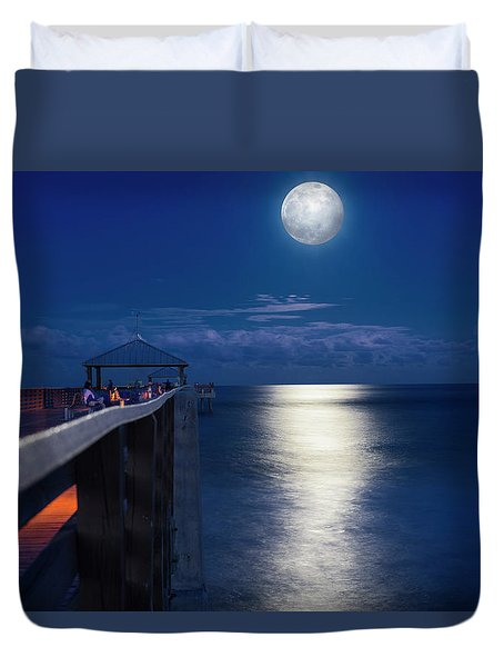 Duvet Cover featuring the photograph Super Moon At Juno by Laura Fasulo