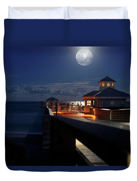Super Moon At Juno Pier Duvet Cover