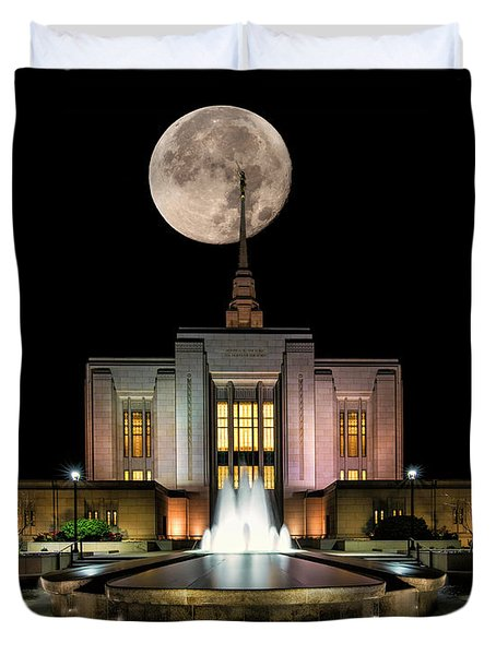 Super Moon At Ogden Lds Temple Duvet Cover