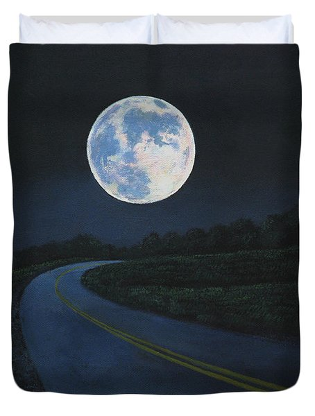Super Moon At The End Of The Road Duvet Cover