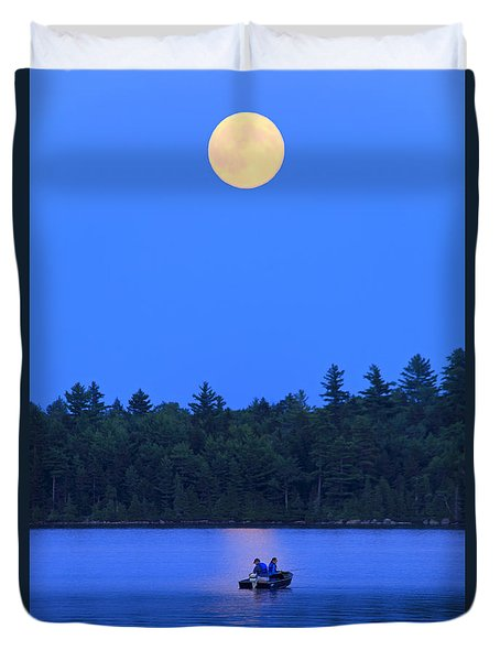 Super Moon At The Lake Duvet Cover